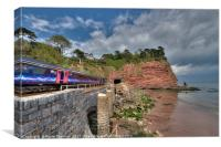 Train approaching the Parson and Clerk Rocks, Canvas Print