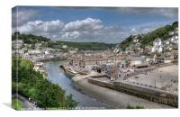 Low Tide on the River Looe in Cornwall, Canvas Print