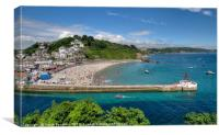 The River Looe,  Town Beach and Banjo Pier, Canvas Print