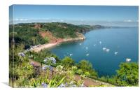 Busy day in Babbacombe Bay and Oddicombe  Beach , Canvas Print