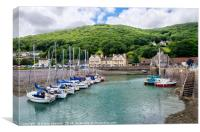 Boats at Porlock Weir in Somerset, Canvas Print