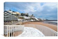 Snowy day at Torre Abbey Sands Torquay, Canvas Print