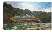 The Cary Arms at Babbacombe viewed from the sea, Canvas Print