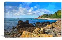Rocky view of Meadfoot Beach Torquay , Canvas Print