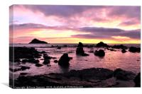 Low tide sunrise at Meadfoot Beach in Torquay, Canvas Print