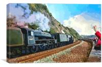 Waving to the Flying Scotsman Steam Train , Canvas Print