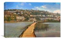 The Causeway at The Millpool in Looe Cornwall, Canvas Print