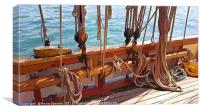 Ropes on a Heritage Sailing Boat, Canvas Print