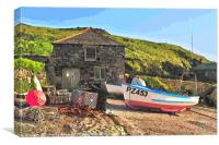 Fishing Boat at Mullion on the Lizard Peninsula, Canvas Print