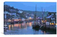Luggers at Looe in Cornwall at early evening , Canvas Print