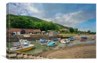 Low tide at Porlock Weir in Somerset, Canvas Print