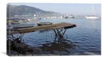 Misty morning at Teignmouth Back Beach in Devon, Canvas Print