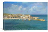 St Ives Town Beach and Pier in Cornwall, Canvas Print