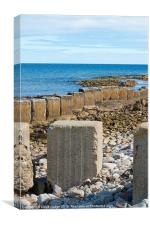 wave breakers by the ocean, Canvas Print