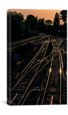 Converging Train Tracks at Dusk, Canvas Print