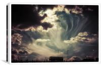 Sky Wisps, over a Double Decker, Canvas Print