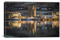 Reflections of Scalloway Harbour and Castle, Canvas Print