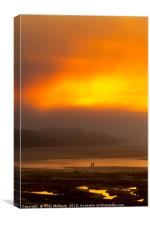 Bamburgh Sea Fret Sunset , Canvas Print