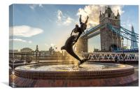 Dolphin and Lady Fountain, London, Canvas Print