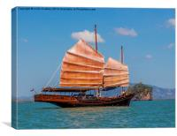 Chinese style junk in the Andaman Sea, Canvas Print