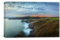 Blue hour at Three Cliffs Bay, Canvas Print