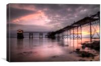 Refurbishing Mumbles pier, Canvas Print