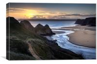 Sunset at Three Cliffs Bay Gower, Canvas Print