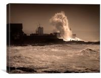 Storm Graham at Porthcawl lighthouse, Canvas Print