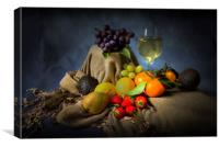 A mixture of fruit and a glass of wine, Canvas Print