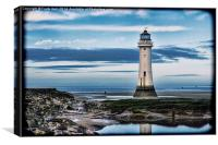 Perch Rock Lighthouse, Wirral (Grunged effect), Canvas Print
