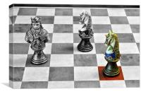 A Knight from a medieval chess set on a convention, Canvas Print