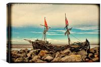 The Driftwood Pirate ship 'Grace Darling'., Canvas Print