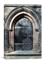One of the many doors in Chester Cathedral,, Canvas Print