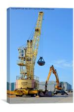 Dockside cranes with clamshell buckets, Canvas Print