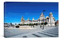 Liverpool's 'Three Graces' as a painting, Canvas Print