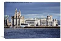 Liverpool's 'Three Graces' artistically portrayed, Canvas Print