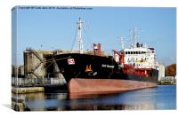 Stolt Razorbill loading in Birkenhead Docks., Canvas Print