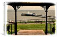 Llandudno Pier viewed from Happy Valley (Grunged), Canvas Print
