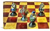 Medieval chess pieces, Canvas Print