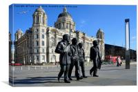 Statue of the Beatles at Liverpool's Pier Head., Canvas Print