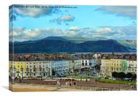 The Cenotaph on Llandudno's famous promenade., Canvas Print