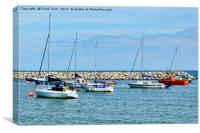 The tranquil harbour of Rhos-on-Sea, Canvas Print