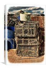 Lobster pots stacked up ready for reuse. (grunged), Canvas Print