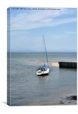 A yacht lies at anchor in Abersoch Harbour, Canvas Print