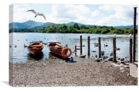 Rwing boats on Derwent water, Canvas Print