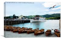 A Windermere cruise boat taking on passengers, Canvas Print