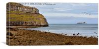 Llandudno's iconic Great Orme, a Stena ferry sails, Canvas Print