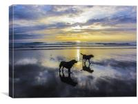 Winter sunset at Woolacombe, Canvas Print