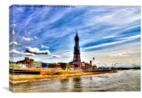 Blackpool Tower and Golden Mile during Sunny Day, Canvas Print