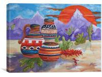 Painted Pots and Chili Peppers, Canvas Print